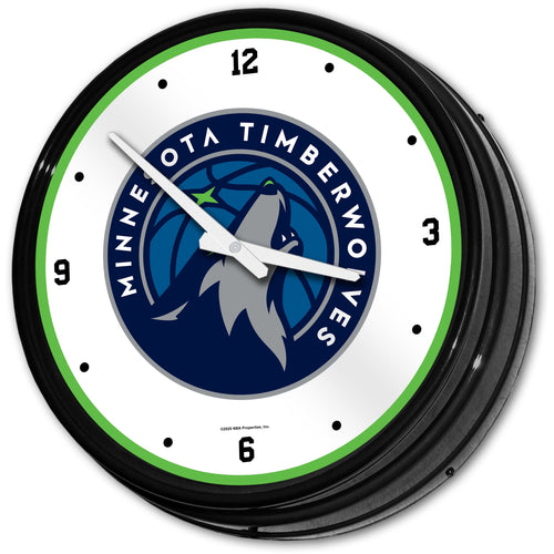 Minnesota Timberwolves: Retro Lighted Wall Clock - The Fan-Brand