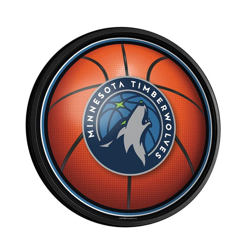 Minnesota Timberwolves: Basketball - Round Slimline Lighted Wall Sign - The Fan-Brand