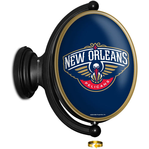 New Orleans Pelicans: Original Oval Rotating Lighted Wall Sign - The Fan-Brand
