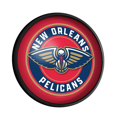 New Orleans Pelicans: Round Slimline Lighted Wall Sign - The Fan-Brand