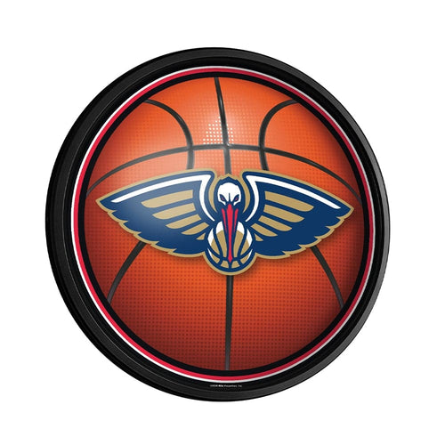 New Orleans Pelicans: Basketball - Round Slimline Lighted Wall Sign - The Fan-Brand