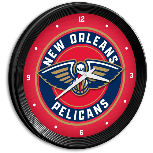 New Orleans Pelicans: Ribbed Frame Wall Clock - The Fan-Brand