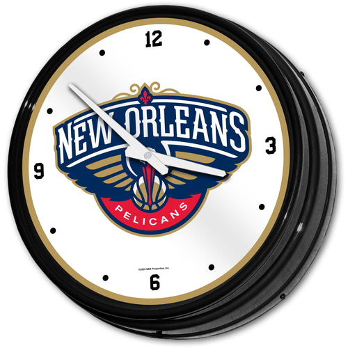 New Orleans Pelicans: Retro Lighted Wall Clock - The Fan-Brand