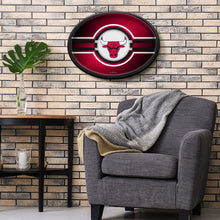 Load image into Gallery viewer, Chicago Bulls: Oval Slimline Illuminated Wall Sign Room Shot