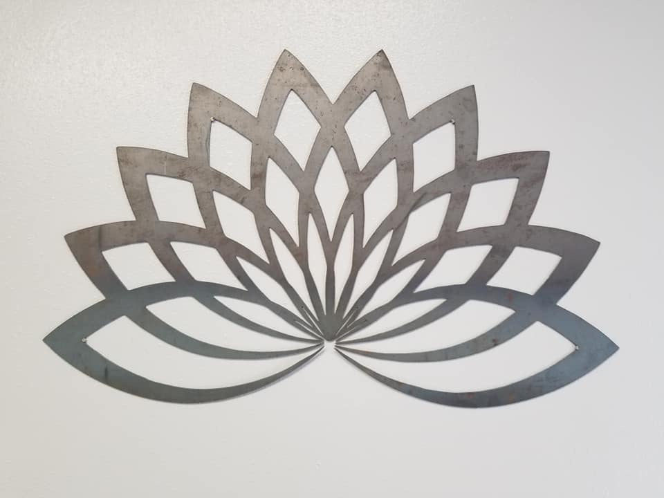 Metal Sign Art - Steel Lotus Metal Sign