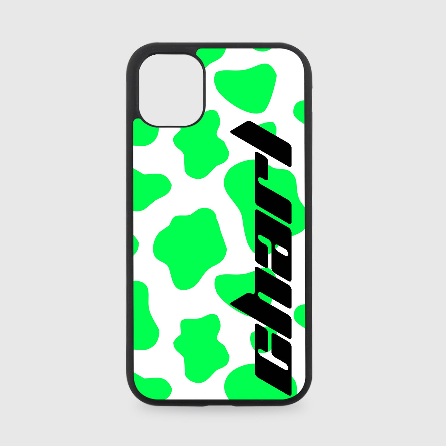 PERSONALISED GREEN COW PRINT NAME PHONE CASE
