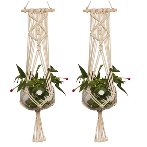 "2x Large Macrame Plant Hanger Handmade Garden Gifts Braided Pot Holder 36"" Long"