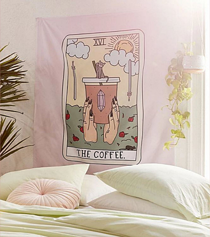 Modern Wall Cloth Wall Hanging Boho Decor Dorm Decor Coffee Print S665