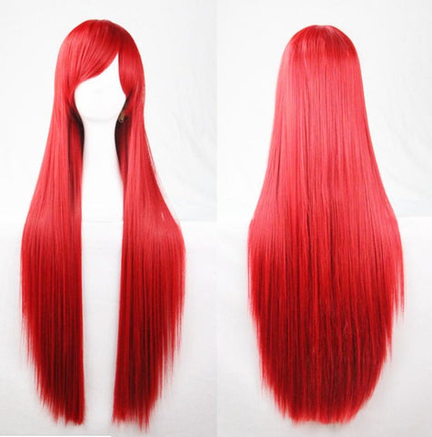 "Red Wigs Cos play 31.5"" Long Straight Women Fake Hair Back To School Halloween Party"
