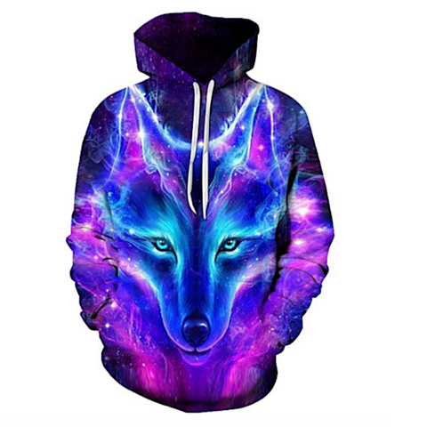 New Space Galaxy Wolf Hoodie Hoodies Men Women Fashion Pullovers W098