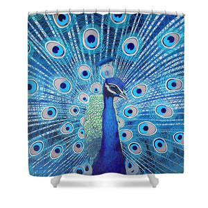 Blue Peacock - Shower Curtain