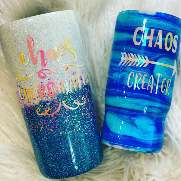 Chaos Coordinator/Chaos Creator Mommy & Me Glitter Tumbler Set