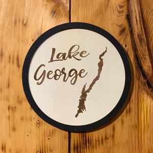 Round Lake George Map Sign