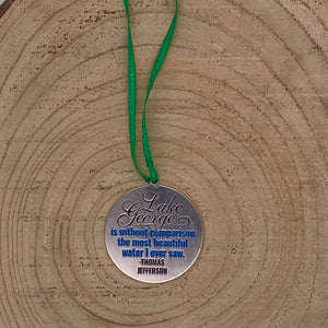 Lake George Map with Thomas Jefferson Quote two sided Ornament