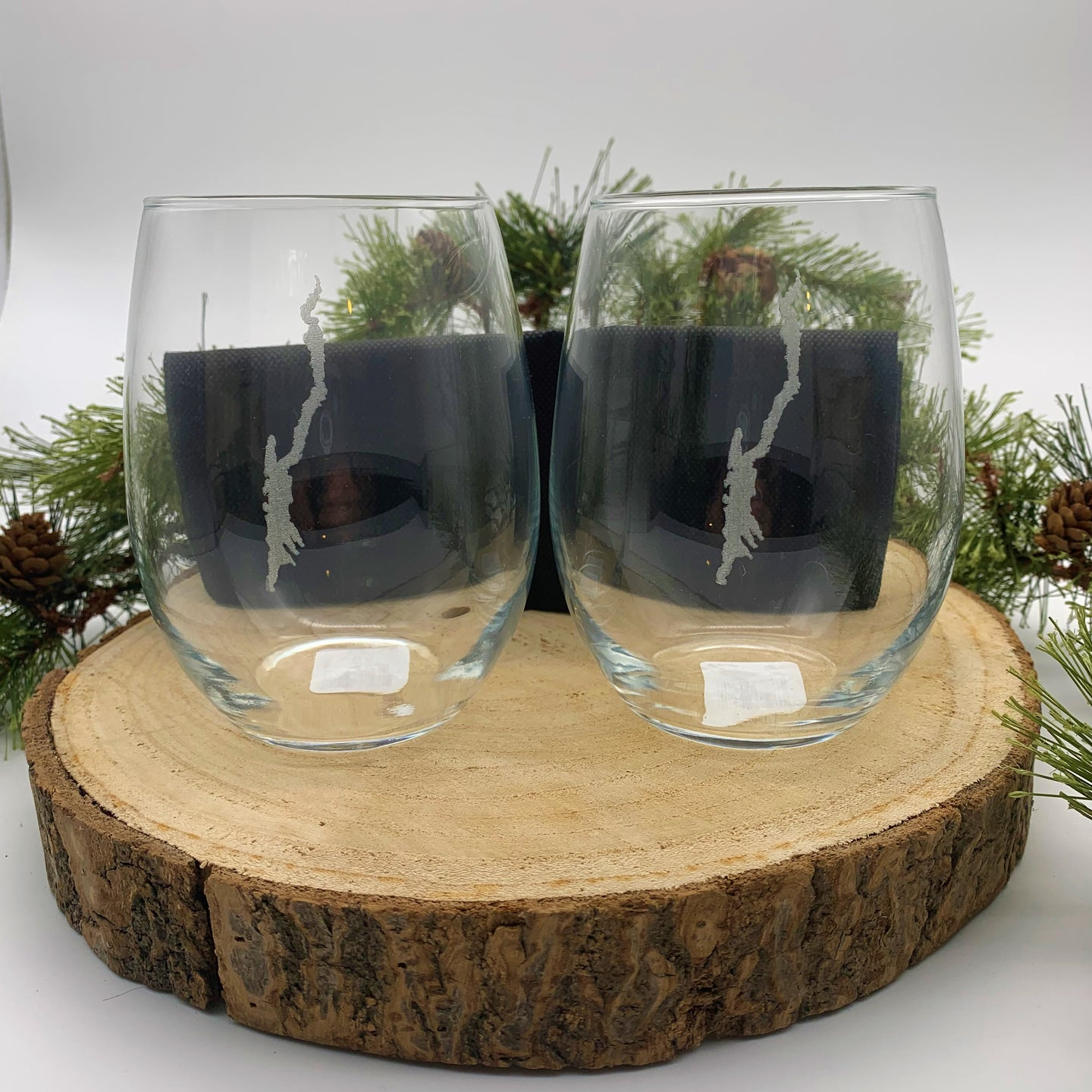 Lake George Map Stemless Glasses Set of 2