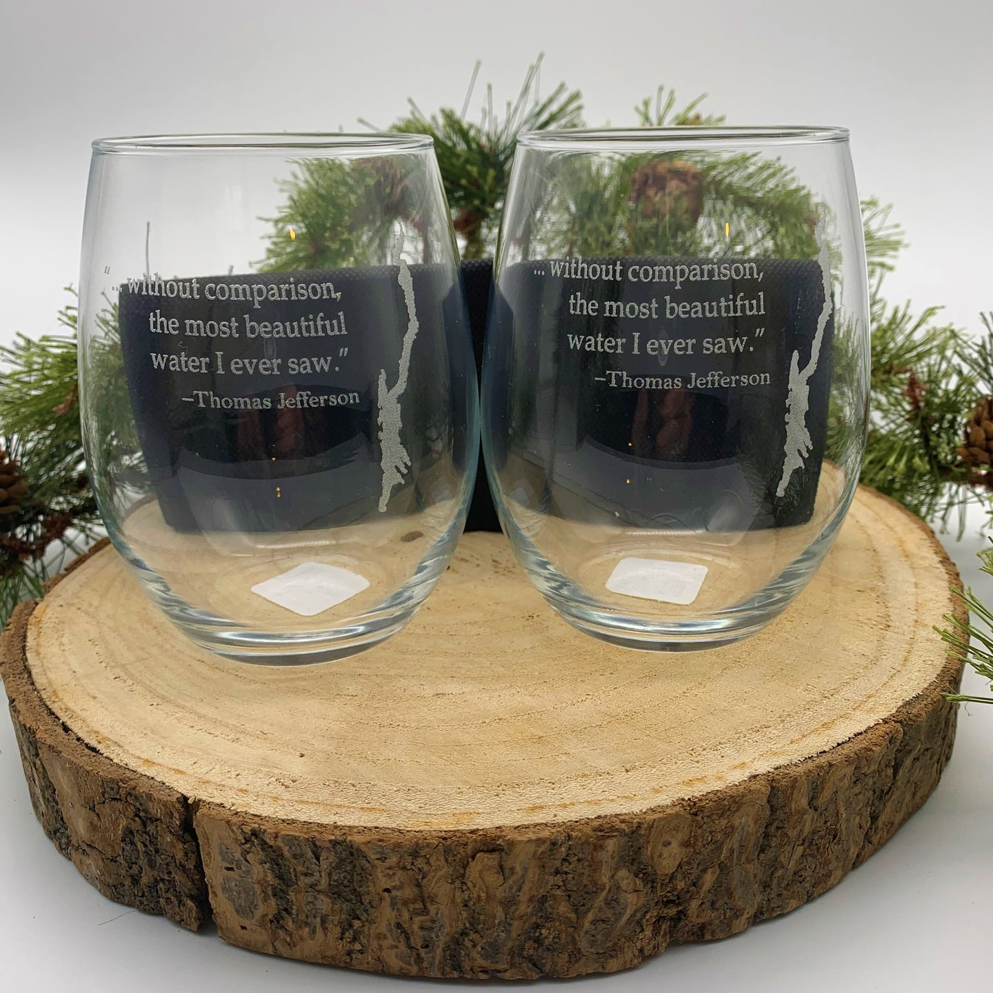 Lake George Stemless Glasses Set of 2