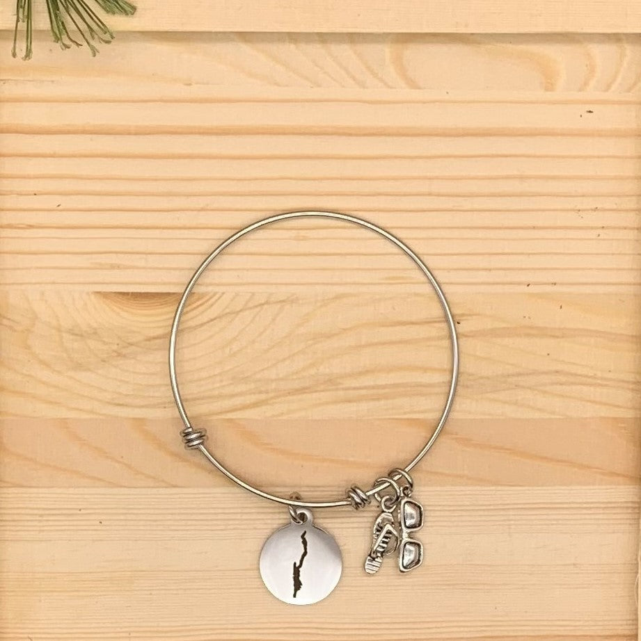Lake George Map Charm Bangle