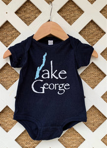 Lake George Map Navy Onesie