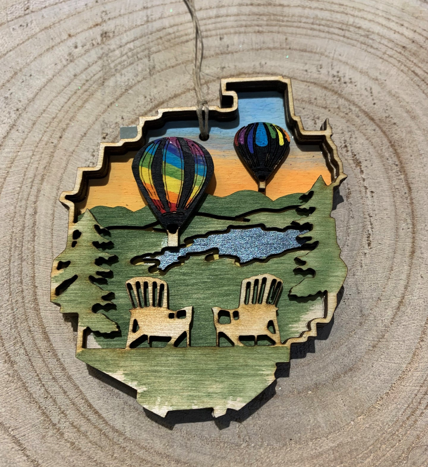 Hand Painted Adirondack Park Outline Wood Ornament.