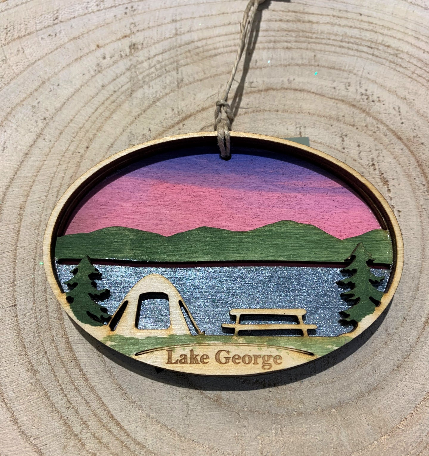 Hand Painted Lake George Wood Ornament.