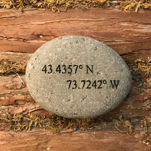 Lake George Coordinates Etched River Stone