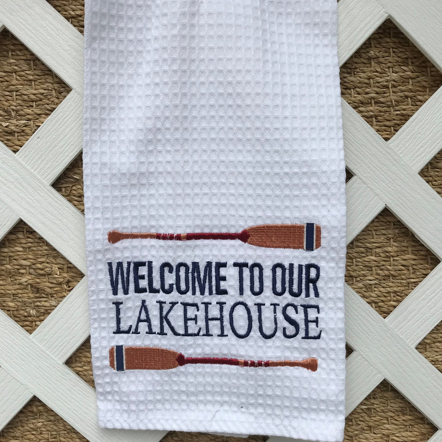 Welcome to Our Lakehouse Embroidered Hand Towel