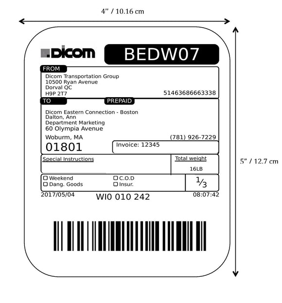Thermal labels P3947 for TTP-224CE, Eltron and Godex (x300)