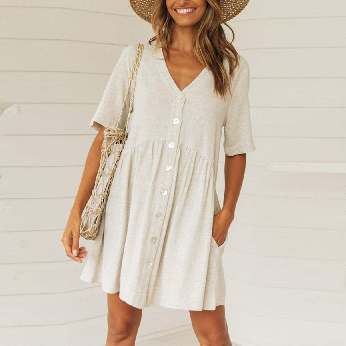 V-neck Explosion Button Dress