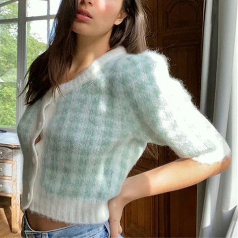 Green and white plaid short-sleeved sweater knitted cardigan