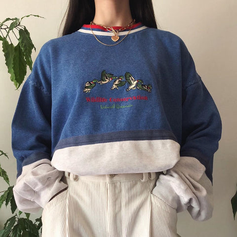Vintage  Printed Colour Round Neck Splicing Sweatshirt