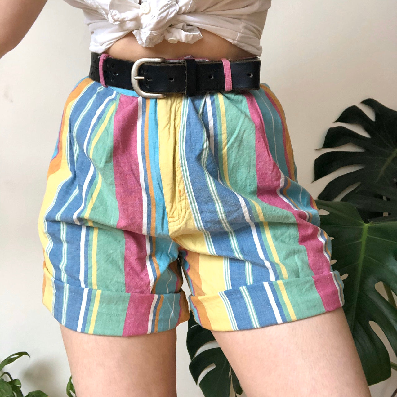 Summer Candy Color Loose Fitting Striped Shorts