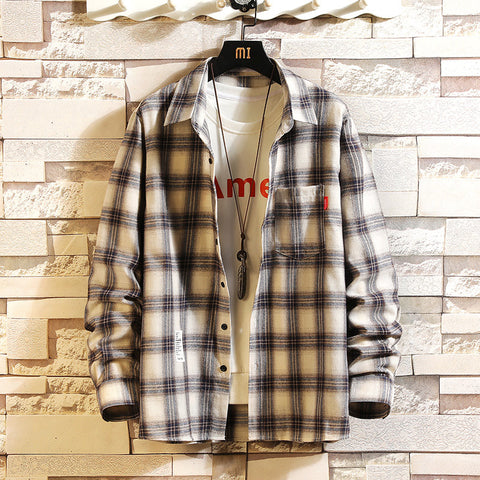Fashion casual plaid colorblock lapel shirt