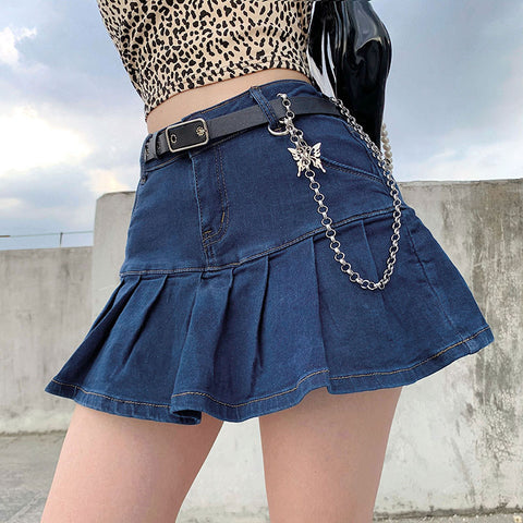 Denim skirt with lined pleated skirt