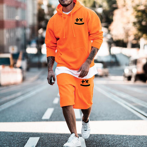 Mens Orange Hooded Sweatshirt Shorts Set