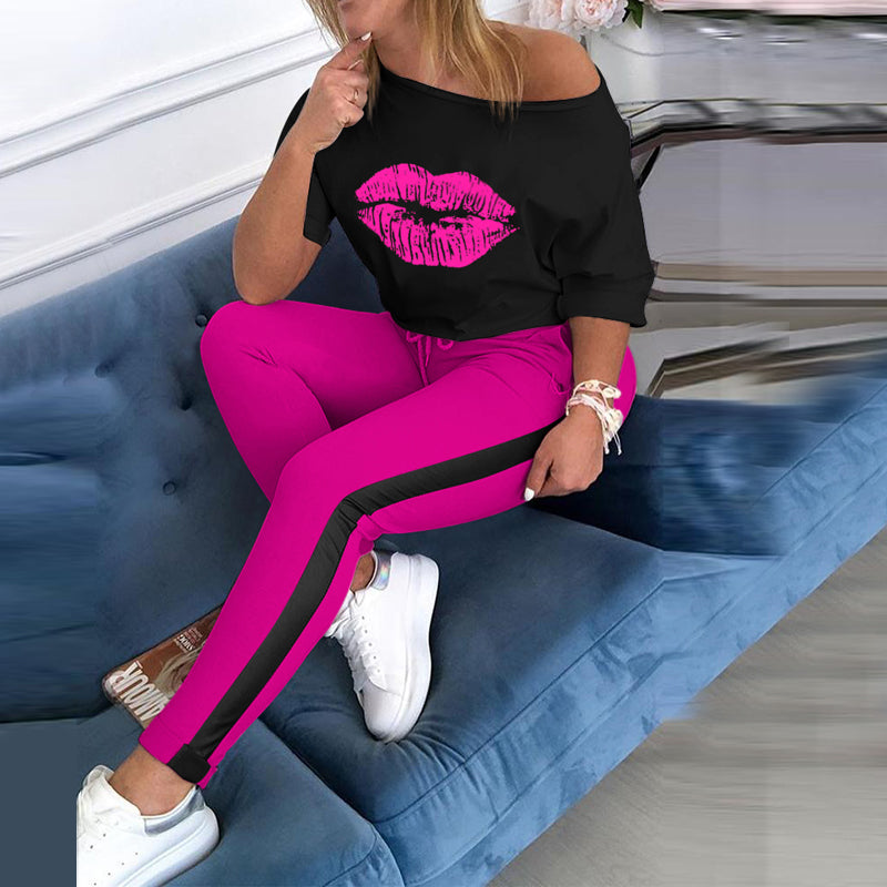Classic Print Lounge Jogger Pants Set