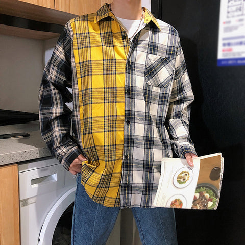 Men's shirt with long sleeve plaid in casual color