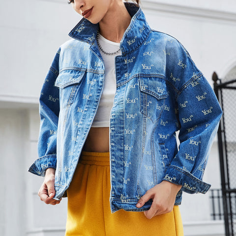 Casual Printed Colour Long Sleeve Denim Jacket