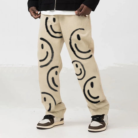 Mens fashion trend street style smiley casual pants