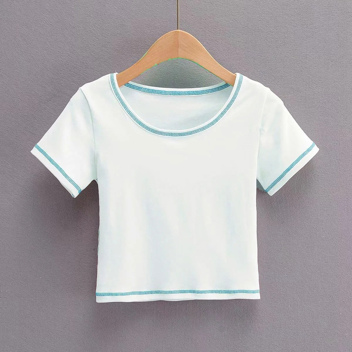 Short Sleeves Slim Contrast Color Round Neck Tops