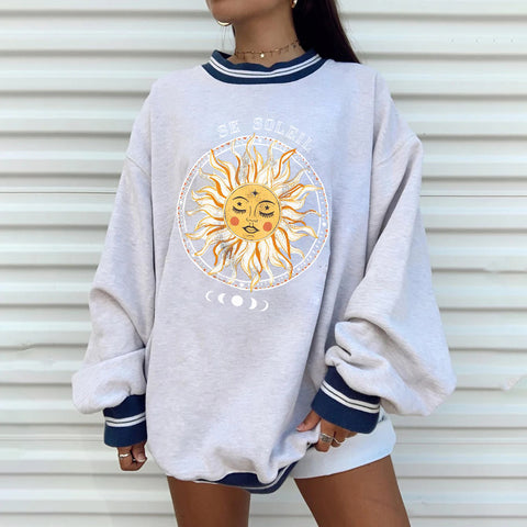 2020 casual retro sun sweater