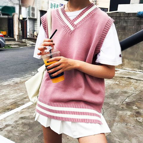 Pink All-match Knitted Vest