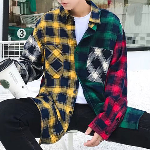 Patchwork loose shirt