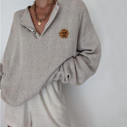 Ladies Casual Retro Sun Print Button Collar Loose Long Sleeve Sweatshirt