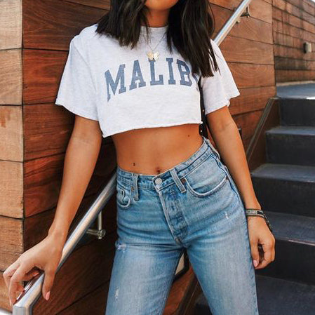 Womens high waist letter printed short sleeve top