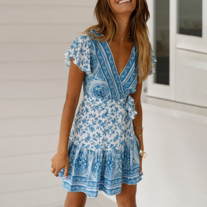 Fashionable Slim Fit Slim Short Sleeve V-Neck Strap Print Dress