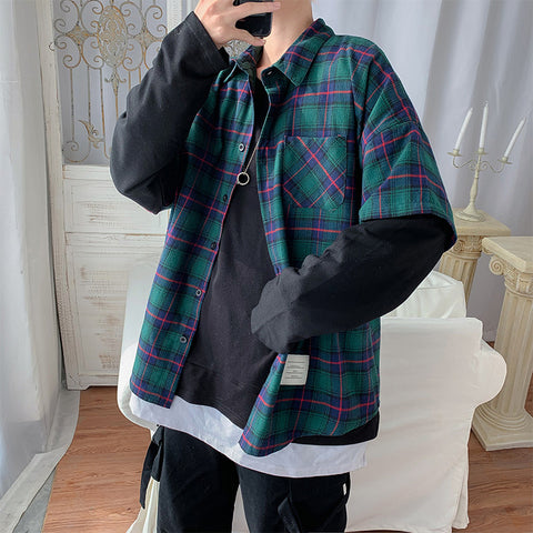 ulzzang  two piece plaid shirts