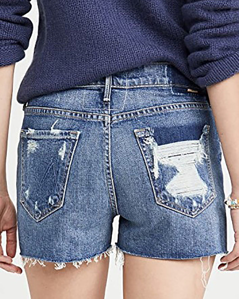 Ripped denim shorts WJ06