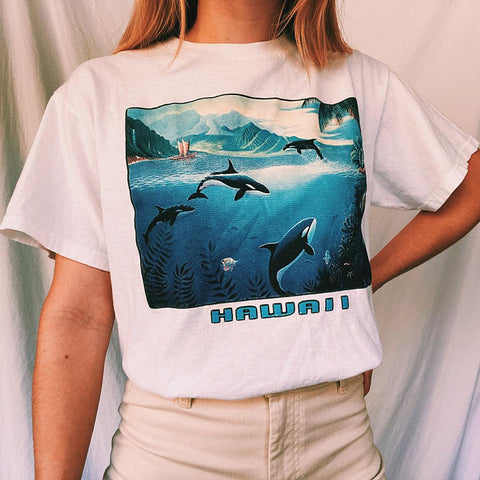 Vintage Round Neck Short Sleeve Whale Print Tee