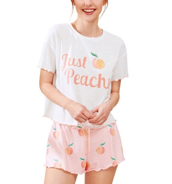 Tie-dye leisure home pajamas round neck short sleeve shorts two-piece suit