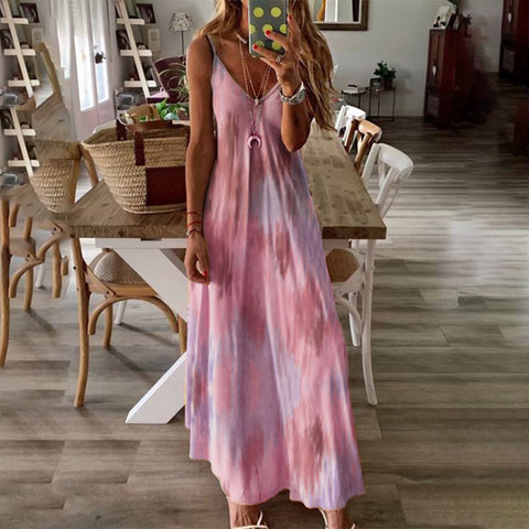 Vacation Gradient Printed Sleeveless Camisole Maxi Dress